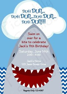 Shark invitation shark party invitation shark birthday invitation invite for a shark themed partyis was shays actual invite filmwisefo Images