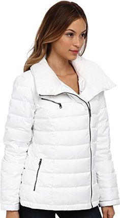 c1437b71a70 Womens Coats   Jackets · Cole Haan Womens Light Weight Packable Down w   Asymmetrical Closure Optic White Outerwear SM (