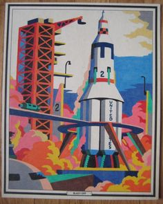 Vintage 1950s Space Paint By Number Picture