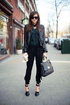 Jacket . Pants . Shirt: ZARA     Shoes: Alexander Wang     Bag: Dolce & Gabbana     Sunglasses: Celine
