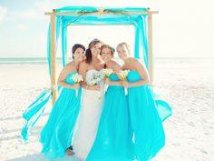 Blue beach wedding blue bridesmaids, beach bridesmaid dresses, beach we Aqua Blue Bridesmaid Dresses, Beach Wedding Bridesmaid Dresses, Beach Wedding Bridesmaids, Beach Wedding Colors, Wedding Beach, Wedding Blue, Trendy Wedding, Tiffany Blue Bridesmaids, Blue Weddings