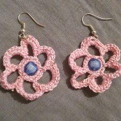 Πλεκτά ροζ σκουλαρίκια / Pink flower crocheted earrings - Fluffy Bunny e-shop Flower Earrings, Crochet Earrings, Pink Flowers, Fluffy Bunny, Jewelry, Shop, Fashion, Diy Kid Jewelry, Happy