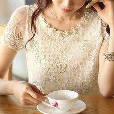 Novo 2015 Oferta Especial Regular Moda Tropical O pescoço Cor Natural Chiffon Blusas Camisa das Mulheres Plus Size Blusa de Renda Vintage em Blusas de Moda e Acessórios no AliExpress.com | Alibaba Group