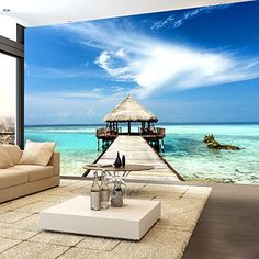 44 Captivating Tropical Wall Murals To Enter Summer In The Home Floor Murals, Wall Murals, Room Wallpaper, Photo Wallpaper, Wallpaper Murals, Foto 3d, Beach Mural, Tropical Paradise, Atrium