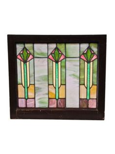 frank lloyd wright stained glass   four matching c. 1915 well-proportioned craftsman style ... 25 x 28 ~ $395