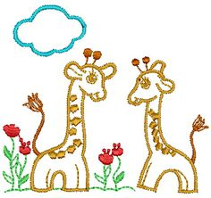 2 Giraffes In Forest Embroidery Design 33   Free Embroidery Designs Download   Free Machine Embroidery Designs   Free Embroidery Patterns