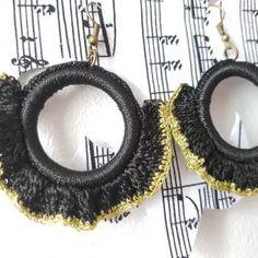Black hoop earrings, fan, big, statement, crochet ruffle jewelry, boho, gift, goth festival, motorbike fashion, alternative, gold, round Handmade Jewellery, Boho Jewelry, Crochet Ruffle, Crochet Earrings, Gothic, Alternative, Hoop Earrings, Fan, Gifts
