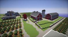 Minecraft Farm house red barn fields building ideas 5
