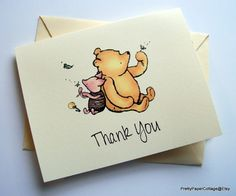 Winnie the Pooh Piglet Notecards Invitations by PrettyPaperCottage