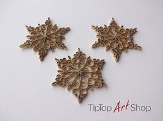 Set of 3 Quilled Christmas Ornaments - Paper Snowflakes in Gold; Gift Wrapped