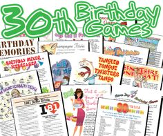 Printable games are great 30th Birthday ideas!