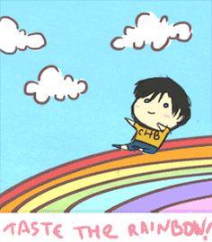 Percy Jackson characters sliding down a rainbow WE HAVE THE WEIRDEST FANDOM (gif)