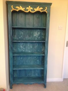 Bookcase painted in a mix of Annie Sloan chalk paint to create this rich effect. www.facebook.com/BureChic