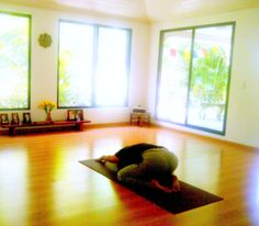 a home yoga studio. love the low lying tables