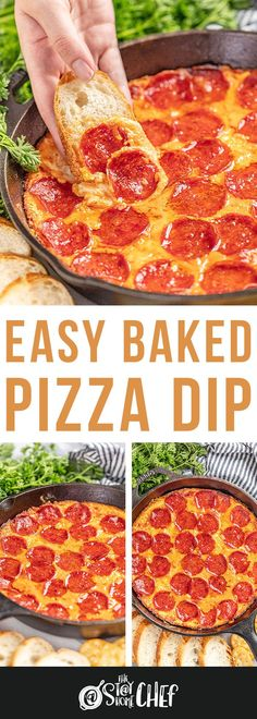 This Easy Baked Pizza Dip is packed with ooey, cheesy, gooey goodness, marinara sauce and plenty of pepperonis—a crowd pleasing appetizer full of flavor! #pizzadip #dip #appetizer