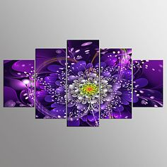 Stretched Canvas Print Floral/Botanical Modern,Five Panels Canvas Any Shape Print Wall Decor For Home Decoration – GBP £ 73.37