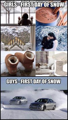 First Day of Snow Girls V's Boys #winter #snow oh this is so my husband!