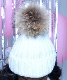 FUR BALL BEANIE hat, beanie with real fur ball, raccoon fur ball skully, beanie with fur ball on top | POP of JUNK