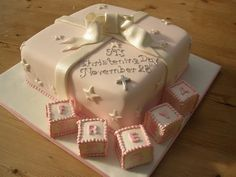 Another simple yet elegant christening cake for a baby girl. Baby Girl Christening Cake, Christening Cakes, Baby Girl Cakes, Baby Party, Baby Shower Parties, Fondant, Baptism Ideas, Unique Cakes, Cakes And More