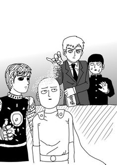 "Manga Creator Sets ""One-Punch Man"" Against ""Mob Psycho In Meme Crossover Saitama, Mob Psycho Manga, Mob Psycho 100 Wallpaper, Anime In, Manga Anime, Mob Physco 100, One Punch Man Anime, Anime Crossover, Fan Art"