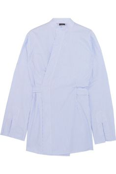 Joseph - Andy Striped Cotton-poplin Wrap Shirt - Light blue - FR44