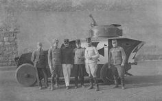 """Soldiers and officers of the Austro-Hungarian army posing against an armored car """"Romfell"""" (Romfell-Panzerwagen), world war I The picture was taken not earlier than Armored Vehicles, Armored Car, Ww1 Soldiers, Austro Hungarian, German Army, World War I, Military History, Armed Forces, Hungary"""