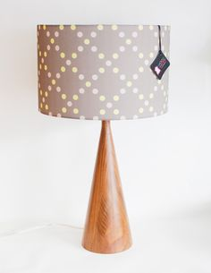 "Lamp Shade - 14"" Drum - Grey, Yellow, Gold - Polka Dots - Organic Cotton Sateen - Washer Top / Harp Fitting. $85.00, via Etsy."