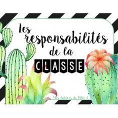 "Responsabilités ""Thème Cactus"" Classroom Organisation, Classroom Management, Back To School Bulletin Boards, Class Decoration, Etiquette, Special Education, Teacher, Learning, Document"