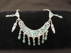 Vintage Silvertone Turquoise Enamel Native Tribal Statement Feather Necklace  #Unbranded #Statement
