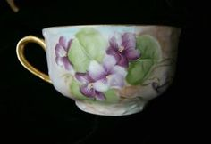 MOST GORGEOUS Signed VIOLETS Limoges Cup & Saucer