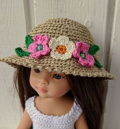 """Clothes hat for dolls Paola Reina doll 12""""/32 cm crochet hat for doll clothing Barbie Clothes, Barbie Dolls, Crochet Cardigan, Crochet Hats, Doll Shop, Dress With Cardigan, Doll Head, Crochet Flowers, Trending Outfits"""