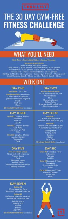 Your week one plan is designed to ease you into your new routine. Each week consists of one yoga and meditation flow, two lower-body and core routines, two upper-body and core routines, and two cardio and flexibility routines.