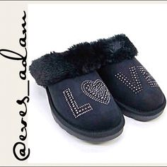 """Black fur lined slippers Faux fur lined inside and cuff, black """"suede look"""" slippers with rubber soles and rhinestone crusting spelling out """"L❤️VE"""". Size M - Fits size 7-8.  ---- [ I also have size S (fits size 5-6), size L (fits size 9-10), and size XL (fits size 11-12). ] PRICE IS FIRM UNLESS BUNDLED. xoxo Eve's Adam Shoes"""