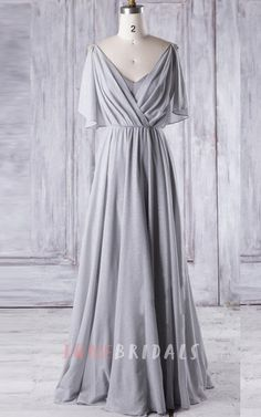 A-line Floor-length V-neck Chiffon Dress With Sequins&Ruffles