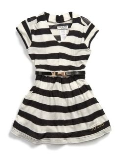 GUESS Kids Girls Striped Sweater Dress Bow Belt « Clothing Impulse