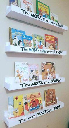 Dr Seuss Book Shelf – Floating Book Ledges – Hanging Bookshelves – Wall Mounted Book Ledge – Dr Seuss – Nursery Book Shelves – Playroom - Home Page Kids Room Bookshelves, Hanging Bookshelves, Nursery Bookshelf, Bookshelf Diy, Pallet Bookshelves, Kids Book Shelves, Floating Bookshelves, Book Shelf Kids Room, Bookshelf Design