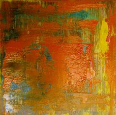 """Francisco Zañartu C. """"Abstracción en verde y rojo"""" óleo sobre panel de madera 100 x 100 cm. año 2013.-"""