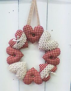 Hanging Heart Wreath PATTERN ONLY   This sewing pattern comes with easy to follow instructions complete with photos, fabric requirement list and