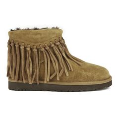 UGG Australia Women's Wynona Fringe Sheepskin Ankle Boots - Chestnut ($100) ❤ liked on Polyvore featuring shoes, boots, ankle booties, ankle boots, tan, fringe bootie, fringe booties, tan ankle boots, fringe ankle booties and flat boots