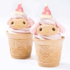 cute and kawaii food art #MyMelody X'Mas ice-cream cone at Sanrio Puroland ( ´ ▽ ` )ノ