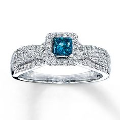 Oooooo..... I want this!!!!! Blue Diamond Ring 1/2 carat tw Princess-cut 10K White Gold