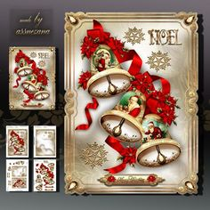 Christmas Vintage Jingle Bells on Craftsuprint designed by Atlic Snezana - Christmas Vintage Jingle Bells: 4 sheets for print with decoupage for 3D effect plus few sentiment tags (for your own personal text) - Now available for download!
