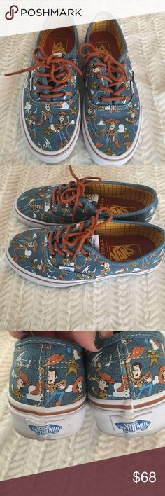 Disney Toy story vans Toy story woody vans. Like new, only wore 2x. Look really cute with jean. Just too small. Men's 4, women's 5.5 Vans Shoes Sneakers