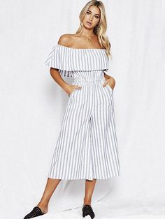 c5011c10f5c Grey-White Striped Ruffle Pockets Off Shoulder High Waisted Backless Casual  Long Jumpsuit