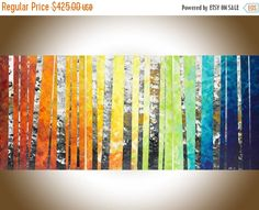 """54""""Rainbow colour art Original oil painting Wall art wall decor painting on canvas """"Color of love"""" by qiqigallery"""