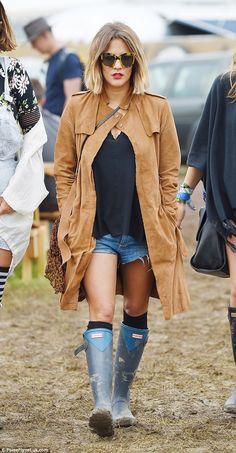 Caroline Flack at Glastonbury 2015. Festival fashion on the blog. over the knee socks, boots & socks, celebrity style
