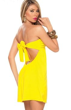 Yellow ruffled bust sexy dress strapless clubwear with bow tie back fashion dress - wholesale Sexy Lingerie China,Sexy Costumes,underwear,fashion clubwear for women,Christmas Costume,Halloween Costume,Lingerie manufacturers & suppliers
