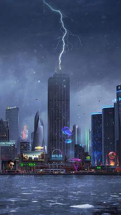 Lightning Striking On Building IPhone Wallpaper - IPhone Wallpapers