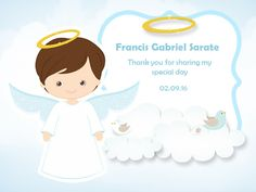 cute Christening thank you Card