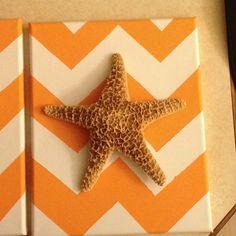 Ocean theme nursery deco. Canvas acrylic chevron with starfish-www.chely-mademeals.blogspot.com